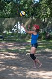 Beach volleyball play girls Royalty Free Stock Photos