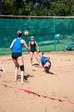Beach volleyball play girls Stock Photography