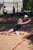 Beach volleyball play girls Royalty Free Stock Images