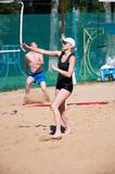 Beach volleyball play girls, Royalty Free Stock Photos
