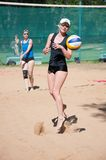 Beach volleyball play girls, Royalty Free Stock Images