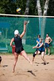 Beach volleyball play girls, Stock Image