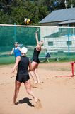 Beach volleyball play girls, Royalty Free Stock Photography