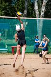 Beach volleyball play girls, Stock Photos