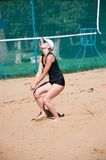 Beach volleyball play girls, Royalty Free Stock Photo