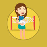 Beach volleyball player vector illustration. Stock Image