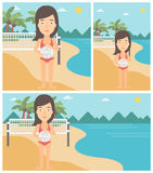 Beach volleyball player vector illustration. Stock Photo