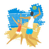 Beach volleyball players. vector illustration