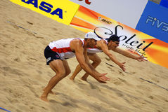 beach volleyball players Royalty Free Stock Photos