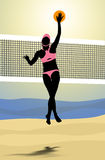 Beach volleyball playes smash the ball in front of the net Royalty Free Stock Photos