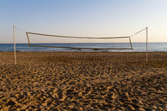 Beach volleyball post early in the morning. Royalty Free Stock Images