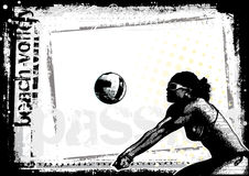 Beach volleyball poster horizonal Royalty Free Stock Images