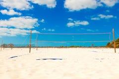 Beach volleyball`s net on the beach. Cuba. royalty free stock photos