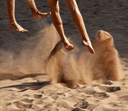 Beach volleyball sand feet Stock Images