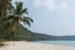 Beach volleyball on sandy beach Stock Photo