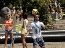 Beach volleyball on the sidewalk. SZCZECIN, POLAND - MAY 23, 2014: Juwenalia, is an annual students' holiday in Poland, usually celebrated for three days in late Stock Photo