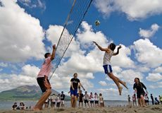 Beach Volleyball spike Stock Photography