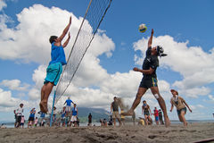Beach Volleyball spike Royalty Free Stock Photo