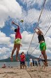 Beach volleyball spike Stock Photo