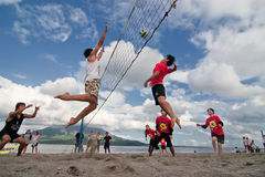 Beach volleyball spike Royalty Free Stock Images