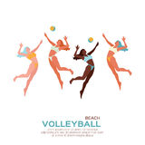 Beach Volleyball. Sport game. Funny young woman with ball. Royalty Free Stock Photo