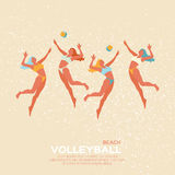 Beach Volleyball. Sport game. Funny young woman with ball. Royalty Free Stock Images