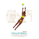 Beach Volleyball. Sport game. Funny young woman with ball. Stock Images
