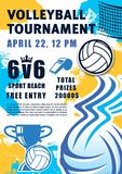 Beach volleyball sport tournament, ball and trophy stock illustration