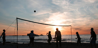 Beach volleyball sunset 2 Royalty Free Stock Image