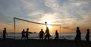 Beach Volleyball Sunset 3 Royalty Free Stock Photography