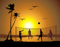 Beach volleyball, sunset Stock Photo