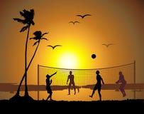 Beach volleyball, sunset stock photo