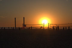 Beach Volleyball at Sunset Stock Image