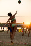 Beach volleyball at sunset stock photos