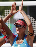 Beach volleyball switzerland hands Royalty Free Stock Photos