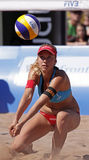 Beach volleyball switzerland pass ball Stock Photo