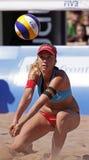 Beach volleyball switzerland pass ball Stock Photo