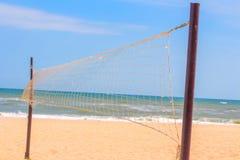 Beach volleyball terrain. Sandy volleyball terrain on the sunny beach Royalty Free Stock Photography