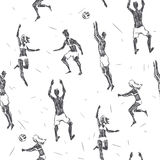 Beach volleyball. Vector seamless pattern with hand drawn young Royalty Free Stock Image