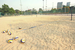 Beach Volleyball with volleyball net Stock Photos