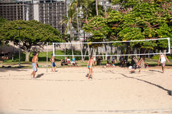Beach volleyball on Waikiki Royalty Free Stock Image