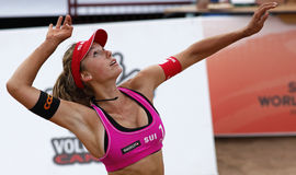 Beach Volleyball Woman Switzerland Hit Stock Images