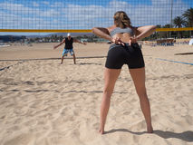 Beach Volleyball - a women gives a hand sign Stock Photos