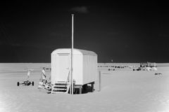 Beach wagon and beach Borkum, Germany Royalty Free Stock Images