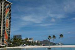 The beach in Waikiki, Hawaii. A view of a beach in Waikiki in Oahu, Hawaii Stock Photos
