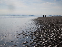 On the beach, Wales. The beach near Morfa Bychan, Wales, with the sand and water on the foreground and the hills of snowdonia national park on the horizon Royalty Free Stock Photo