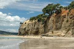 Beach Walk. Cliffs near ocean with people walking Royalty Free Stock Photography