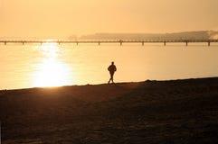 Beach walker. A beach walker at sunset Stock Photo