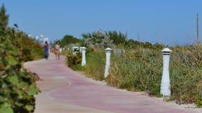 Beach walkway Miami Beach stock footage