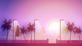 Beach Walkway at Sunset with Palm Trees  - Vector Illustration. Beach Walkway at Sunset with Palm Trees Royalty Free Stock Image